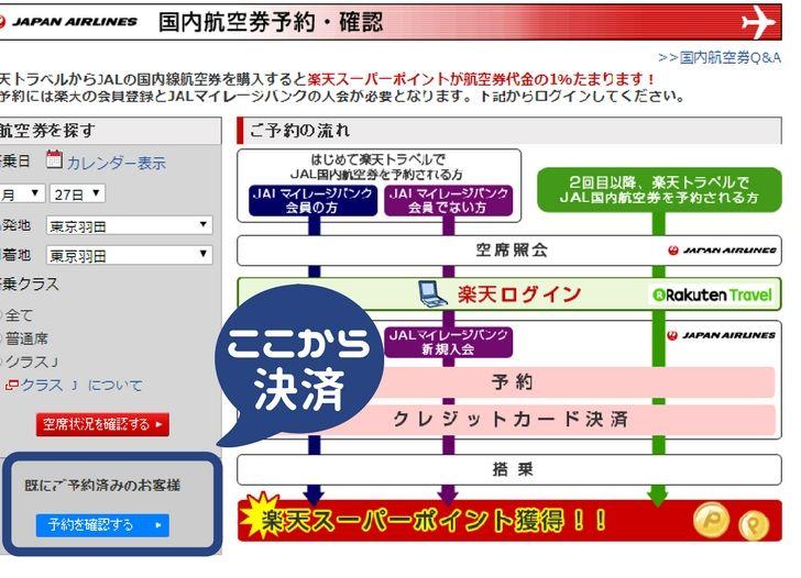 JAL国内航空券を予約した後に、楽天ポイントをもらうために決済する方法の図